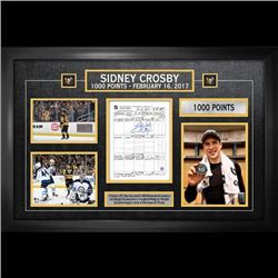 Sidney Crosby Signed Scoresheet Framed Penguins 1000th Point