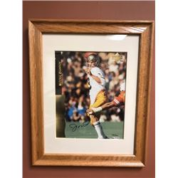 "JOE MONTANA SIGNED 8"" X 10"" FRAMED PHOTO (NOTRE DAME) W/ COA"