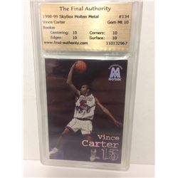"1998-99 VINCE CARTER #134 SKYBOX MOLTEN METAL ""THE FINAL AUTHORITY"" ROOKIE BASKETBALL CARD (GEM MT)"