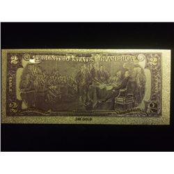$2 GOLD BANKNOTE USA PURE 24K GOLD LEAF TWO DOLLAR BILL