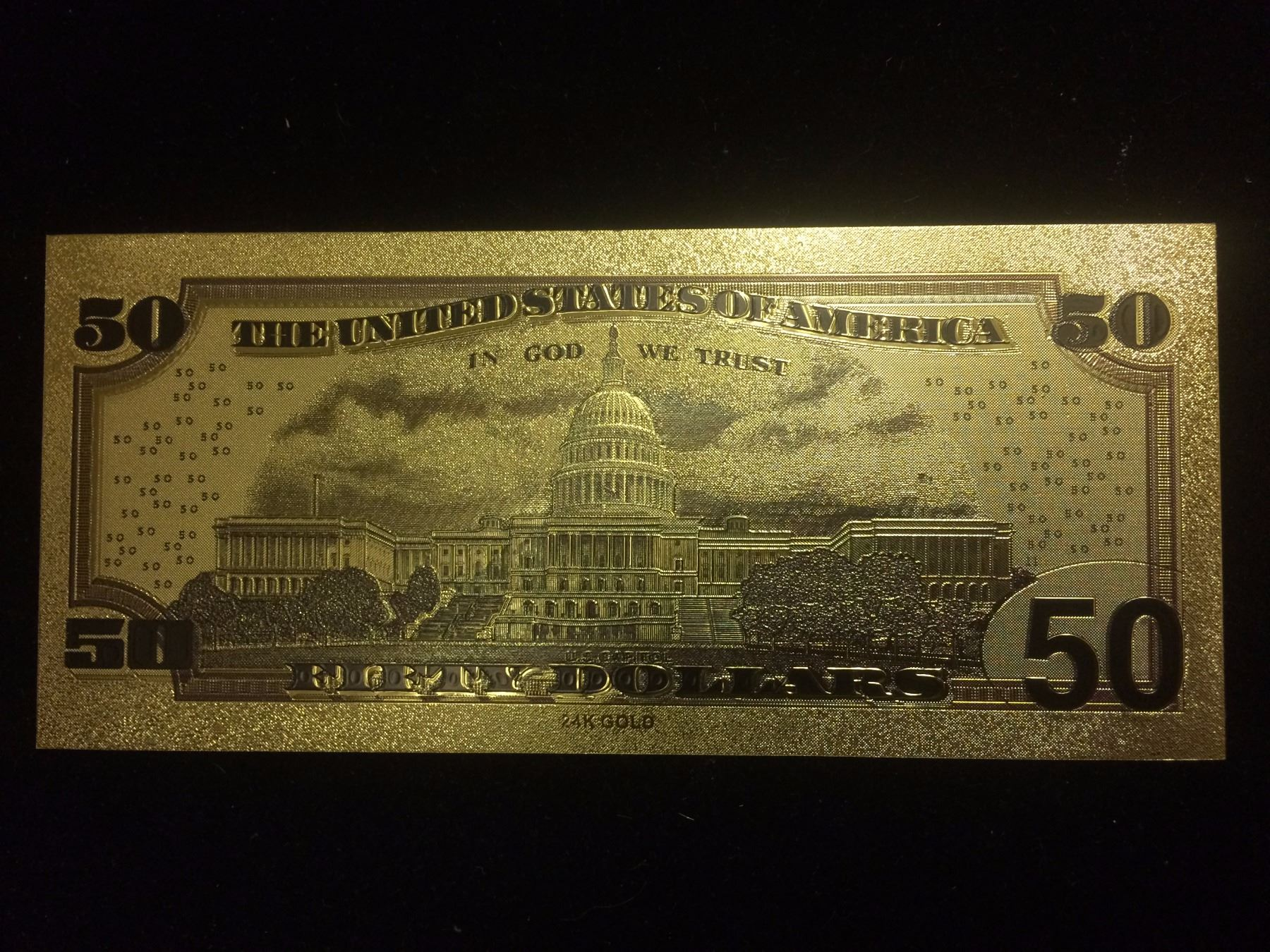 Image 1 50 Gold Banknote Usa Pure 24k Leaf Fifty Dollar Bill
