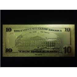 $10  GOLD BANKNOTE USA PURE 24K GOLD LEAF TEN DOLLAR BILL