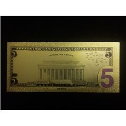 $5 GOLD BANKNOTE USA PURE 24K GOLD LEAF FIVE DOLLAR BILL