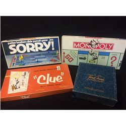 BOARD GAME LOT (SORRY, CLUE, MONOPOLY, TRIVIAL PURSUIT)