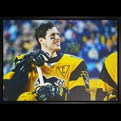 Sidney Crosby Signed 20x29 Canvas Framed Penguins 2017 Stadium Series Close-Up