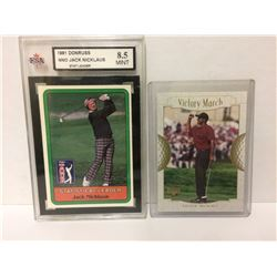 1981 NNO JACK NICKLAUS DONRUSS STAT LEADER CARD (8.5 MINT) & TIGER WOODS VICTORY MARCH CARD