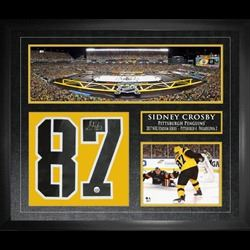 Sidney Crosby Signed Jersey Numbers Framed Penguins Collage 2017 Stadium Series