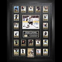 Sidney Crosby Signed 8x10 Penguins w Rookie Season Card Set And Piece of Net