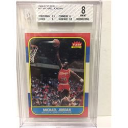 1986-87 MICHAEL JORDAN #57 FLEER ROOKIE BASKETBALL CARD (8 NM-MT)