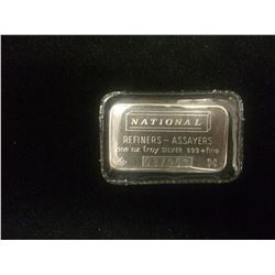 NATIONAL SILVER ONE OUNCE BAR W/ SERIAL NUMBER (.999 & FINE)