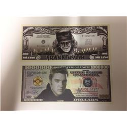 Elvis Presley Novelty One Million Dollar Bill & Frankenstein ~ Fun $1,000,000 One Million Dollar Bil