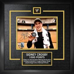 Sidney Crosby Signed 8x10 Etched Mat Penguins 1000th Point