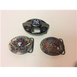 BASEBALL BELT BUCKLES LOT (JAYS, YANKEES,)