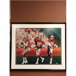 "JOE MONTANA SIGNED 8"" X 10"" FRAMED PHOTO W/ UPPER DECK COA"