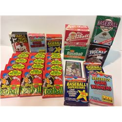 NFL FOOTBALL & MLB BASEBALL TRADING CARDS LOT (WAX PACKS & SETS)