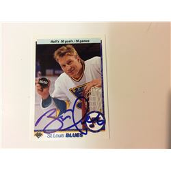 1990-91 BRETT HULL SIGNED ST LOUIS BLUES HOCKEY CARD (UPPER DECK)
