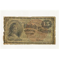 1863 15 CENT US FRACTIONAL CURRENCY OLD TAPE ON