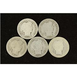 5 ASSORTED BARBER DIMES