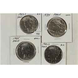 4 PEACE SILVER DOLLARS SEE DESCRIPTION