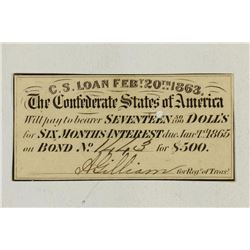 1863 CONFEDERATE STATES OF AMERICA BOND COUPON