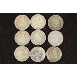 9 ASSORTED 1870'S SEATED LIBERTY DIMES