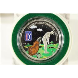 2014 COOK ISLANDS $5 SILVER PROOF WITH GOLF CLUB