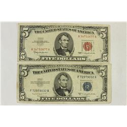 1953-B $5 SILVER CERTIFICATE & 1963 $5 US NOTE