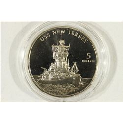 1998 MARSHALL ISLANDS $5 USS NEW JERSEY PROOF