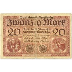 1918 GERMANY 20 MARK CURRENCY