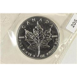 1992 CANADA $5 SILVER UNC MAPLE LEAF 1 OZ.