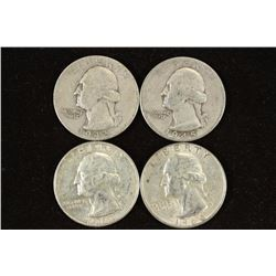 1942,45,62-D & 64 WASHINGTON SILVER QUARTERS