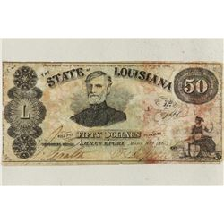 1863 STATE OF LOUISIANA $50 BEARER BILL