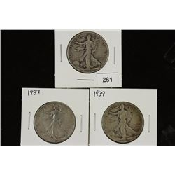 1936-D,37 & 1939 WALKING LIBERTY HALF DOLLARS