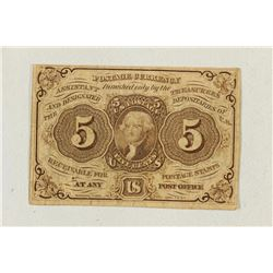 1862 5 CENT US POSTAGE CURRENCY