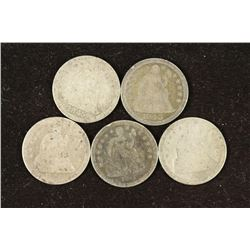 5 ASSORTED 1840'S SEATED LIBERTY DIMES