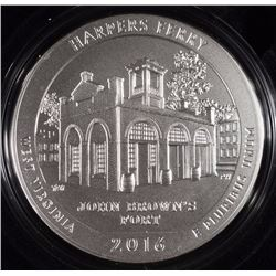 2016 UNC.AMERICA THE BEAUTIFUL FIVE OUNCE 99.9 FINE SILVER COIN: HARPERS FERRY