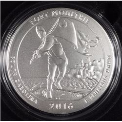 2016 UNC.AMERICA THE BEAUTIFUL FIVE OUNCE 99.9 FINE SILVER COIN: FORT MOULTRIE