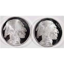 ( 2 ) ONE OUNCE .999 SILVER BUFFALO/INDIAN ROUNDS
