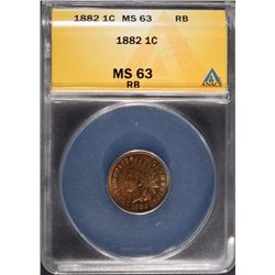 1882 INDIAN HEAD CENT ANACS MS 63 RB