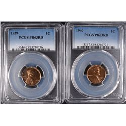1939 & 1940 LINCOLN CENTS PCGS PR63RD