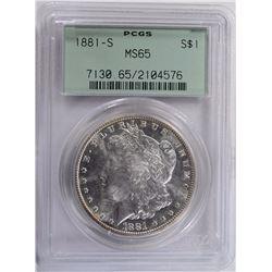 1881-S MORGAN SILVER DOLLAR OLD GREEN HOLDER PCGS MS65