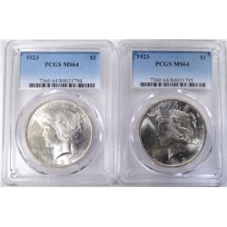 2- 1923 PEACE SILVER DOLLARS PCGS MS64