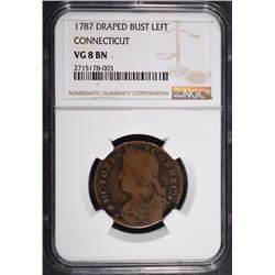 1787 DRAPED BUST LEFT CONNECTICUT NGC VG 8 BN