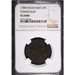 1788 MAILED BUST LEFT CONNECTICUT NGC VG 8 BN