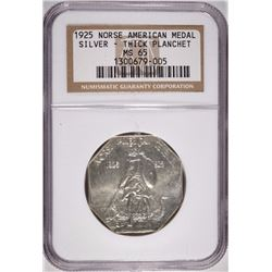 1925 NORSE AMERICAN MEDAL SILVER THICK PLANCHET NGC MS 65