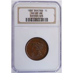 1856 BRAIDED LARGE CENT NGC MS 65 BN  STUNNING!