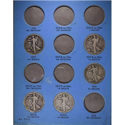 1916-1936 WALKING LIBERTY HALF DOLLAR FOLDER WITH 24 DIFFERENT CIRC  COINS