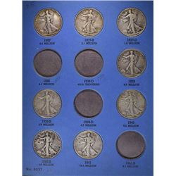 1937-1947 WALKING LIBERTY HALF DOLLAR FOLDER WITH 24 DIFFERENT CIRC  COINS