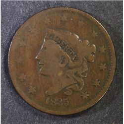 1835 LARGE CENT VG COUNTER STAMPED REV.