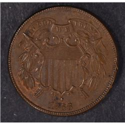 1866 2-CENT PIECE, UNC. BROWN  NICE!